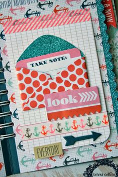 LOVE the glittery interior of this envelope with the journaling card tucked inside