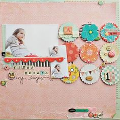 Scrapbook Layout by frances--could use hearts or butterflies in place of the circles with stitching across them