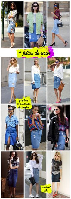 So many ways to wear a denim skirt Work Fashion, Denim Fashion, Modest Fashion, Fashion Looks, Fashion Outfits, Demin Skirt, Denim Skirt Outfits, Denim Outfit, Maong Skirt Outfit