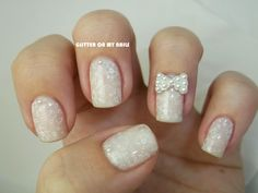 GLITTER ON MY NAILS: white manicure, pearls, 3D bow and @bundlemonster stamping plate BM-419
