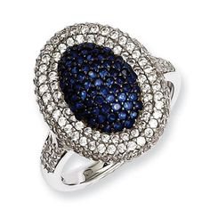 .925 Sterling Silver Blue Clear CZ Oval Shaped Ring Silver Jewelry Available Exclusively at Gemologica.com