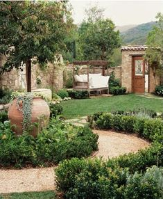The charming elegance of Mediterranean landscaping design is ideal for a relaxing, livable outdoor. A Mediterranean landscaping design is inspired by the climate. Backyard Plants, Large Backyard, Backyard Landscaping, Nice Backyard, Landscaping Design, Tuscan Garden, Garden Cottage, Outdoor Rooms, Outdoor Gardens
