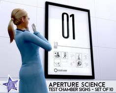 Sims Aperture Science Test Chamber signs from Portal Set of For Science. The Sims, Sims 4, Aperture Science, Portal 2, 2 Set, Signs, Shop Signs, Sign, Sims