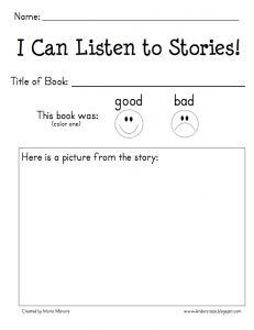 mp3 Listening Center and Reading Response Form - FREEBIE! - Kinder Craze: A Kindergarten Teaching Blog