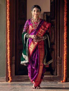 Marathi Brides Who Wore The Prettiest Plum Sarees! Marathi Bride, Marathi Wedding, Saree Wedding, Indian Wedding Planning, Wedding Planning Websites, Plum Wedding, Wedding Looks, Nauvari Saree, Top Photographers