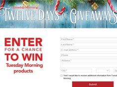 Enter The Tuesday Morning 12 Days of Giveaways Sweepstakes for a chance to win a Singer Inspiration S900 Sewing Machine and a $50 Tuesday Morning Gift Card!