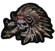 Indian Chief Thunderbird Skull Motorcycle Vest Back Patch Biker Patches, Iron On Patches, Jacket Patches, Savage Logo, Harley Davidson Parts, Indian Skull, Native American Warrior, Horse Tail, War Bonnet