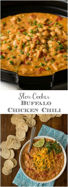 Slow Cooker Buffalo Chicken Chili - The Cafe Sucre Farine - reminiscent of the classic Buffalo wings, this chili is super easy and so much delicious flavor!