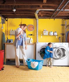 colorful laundry room!...oh I so want to do this to my basement laundry room. Right now I refer to it as the dungeon.....its that bad lol