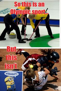 Curling is an Olympic sport but softball isn't? In the words if the minion. Please give me credit when you pin. This dumb because softball is an actual sport! Funny Softball Quotes, Softball Cheers, Softball Pictures, Girls Softball, Softball Players, Fastpitch Softball, Softball Stuff, Softball Things, Funny Texts