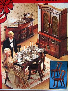 Golden Dream Barbie and Ken with wood dining room furniture set from the Sears Christmas Catalog, 1981 Dining Room Furniture Sets, Outdoor Dining Furniture, Dream Furniture, Barbie Furniture, Furniture Chairs, Dining Rooms, Furniture Ideas, Furniture Design, Barbie Toys