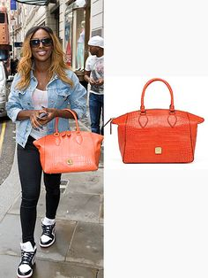 Alexandra Burke wanted to inject some colour into the wet weather she's landed home to and purchased this fab orange bag!