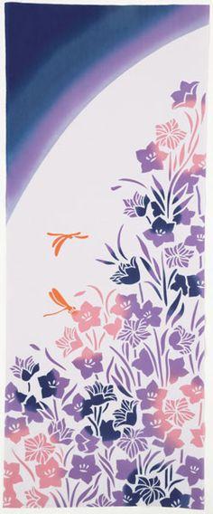 【日本製】伝統の「注染」で染め上げた手ぬぐい!。【手ぬぐい(てぬぐい)・日本手拭い】[気音間] 桔梗(ききょう)【花・花柄】