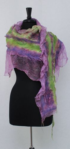 Spring Nuno felted scarf, Romantic Felt Shawl ,Textured Silk Wool Lavender Green Lime ,Gatsby Felt Scarf OOAK Boho Shawl by RaisaFelt on Etsy