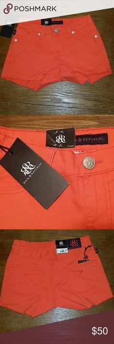 New Rock & Republic Orange Cutoff Denim Shorts 0 New with tags R&R denim shorts from Kohls. Size 0. Color is Tequila Sunrise orange.  Style is Lolita. Cut off. 5 pocket. Button zip. Belt loops. Logi stitch back pockets.  28 waist. 2.5 inseam. Rock & Republic Shorts Jean Shorts