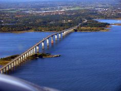 There's a bridge from the Swedeish mainland to the island of Öland in the Baltic Sea. The bridge is almost 4 miles long.