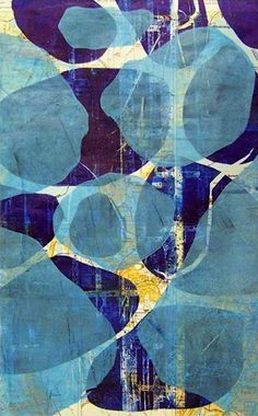 Linda Germain gelatin print. I think the pattern is pretty and I love the colours and the shapes making it abstract Tissue Paper Art, Gelli Arts, Illustration Art, Illustrations, Art Graphique, Art Design, Artwork Design, Book Design, Layout Design