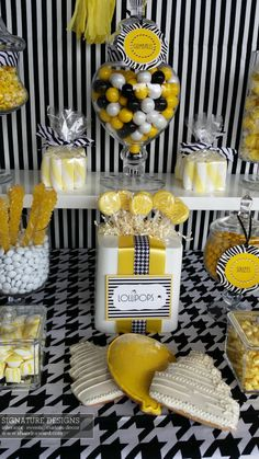 Window display I created for Sweet Dreams Wholesale Candy Company. My inspiration...a bumble bee!  See more of my sweet buffet designs at http://www.signaturesweetshouston.com