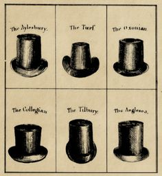 """ragbag:    know your top hat styles*  *from:the whole art of dress!by """"a cavalry officer"""" (1830)."""