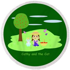 """Cathy And The Cat With Apples Round Beach Towel by Laura Greco.  The beach towel is 60"""" in diameter and made from 100% polyester fabric."""