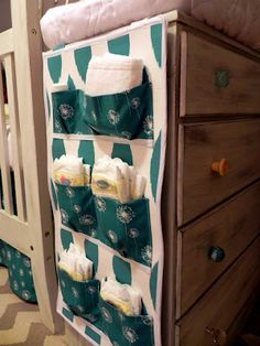 Custom diaper caddy made by mom from leftover fabric.