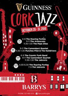 Barrys of Douglas Guinness Crok Jazz Festival lineup. Funk Bands, Jazz Festival, Guinness, Lineup, Advertising, Illustration, Illustrations