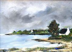 Fin Juin : Peinture encadrée originale marine à l'huile au pinceau…
