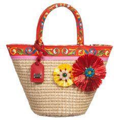 Dolce & Gabbana - Girls 'Carretto Con Rose' Straw Bag (26cm)   Childrensalon