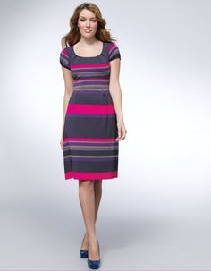 Stripe Jersey Dress in Multi Stripe by Pepperberry