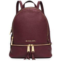 Michael Michael Kors Merlot Rhea Zip Small Backpack ($133) ❤ liked on Polyvore featuring bags, backpacks, merlot, red leather backpack, leather rucksack, zipper bag, leather backpack and michael michael kors