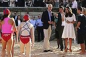 POOL PHOTOS - Their Royal Highnesses the Duke and Duchess of Cambridge, Prince William and Duchess Kate meet members of the local surf life ...