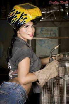Sexy welding girls event