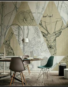 Graphic pattern for truly original visual effects Wall&Decò presents new contemporary wallpaper collection - Charcoal Drawing Deer Wallpaper, Interior Wallpaper, Graphic Wallpaper, Nature Wallpaper, Wallpaper Murals, Sherwin Williams Poised Taupe, Diy Plants, Modern Painting, Illustration Simple