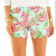 """Lilly Pulitzer Buttercup Shorts Adorable NWT Lilly Pulitzer """"In the vias"""" printed buttercup scalloped shorts! Never worn and so cute and stylish! I am just selling because as soon as I bought them I found out that I was moving and I won't have a lot of room in my new space! I am pretty firm on the price and I do not want to trade on this item! Lilly Pulitzer Shorts"""