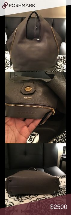 Tom Ford Jennifer Side-zip Leather Hobo Brand new! Grey Tom Ford hand bag. Calf leather with signature Tom Ford gold hardware. Open top with snap-tab closure. Winged side details Tom Ford Bags Hobos