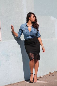 Denim shirt x black lace skirt | beyondherreality.com