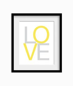THIS IS A MUST FOR THE NEW BEDROOM!!!  LOVE Art Print Wall Art Yellow and Grey Home Decor by AldariArt, $18.00