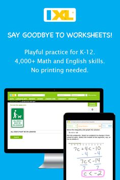 Paperless Math and English practice for K-12, online and on mobile!