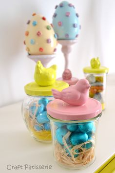 Easter DIY gift reuse, jars and Easter animal toys spray painted