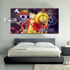 One Piece Canvas Painting, Luffy D Monkey One Piece Merchandise, Anime Merchandise, One Piece Luffy, One Piece Anime, Bedroom Themes, Bedroom Decor, Teenage Room, Master Bedrooms, Canvas Art Prints