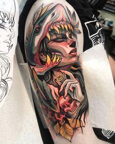 Get your tattoo design by Legendary Tattoo Studio, the best tattoo shop in Dublin. Jj Tattoos, Shark Tattoos, Body Art Tattoos, Tattoo Drawings, Sleeve Tattoos, Flash Tattoos, Irezumi Tattoos, Dragon Tattoos, Neo Tattoo