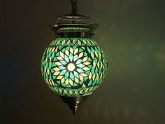 Hanglamp glasmozaïek groen turkish design -