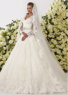 Buy discount Glamorous Tulle V-neck Neckline Ball Gown Wedding Dresses With Lace Appliques at dressilyme.com