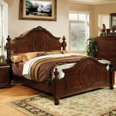 Furniture Design Bedroom Furniture Bedroom Sets Wood Bed Sets Headboard Footboard Sets 5 Pc Velda Ii Luxurious English Style Warm Cherry