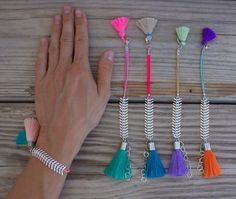 NEW: limited edition OOAK beautiful SILVER fishbone chain bracelet with big and small tassel