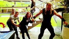 Not sure if this is hilarious or adorable. Maybe both. Cap and Natasha try to weigh down Thor while Tony looks on in bemusement. ;)