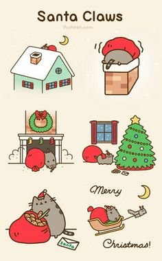 Pusheen the Cat as Santa Claws [animated] ~ Christmas humor ~ Santa Claus Gato Pusheen, Pusheen Love, Pusheen Stuff, Pusheen Christmas, Christmas Cats, Merry Christmas, Xmas, Funny Christmas, Kawaii Drawings