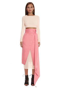 Aine Tie Waist Midi Skirt - Pretty Pink