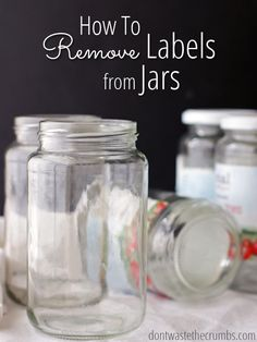Love this awesome kitchen hack! Learn the simple DIY trick for removing labels from jars using a common ingredient you already have on hand! Ready in minutes, great budget tip and saves money with reusing what you already have! :: DontWastetheCrumbs.com