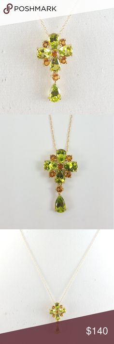 Peridot & Citrine Pendant with chain 14k Gold 3.40 ct tw Peridot & Citrine Pendant with chain 14k solid gold - never worn - new in box - original invoice slip - QVC purchase 2005  See pics for full QVC write up and info QVC Jewelry Necklaces
